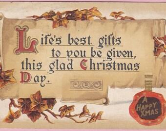 """Ca. 1914 """"Ivy and Motto"""" Christmas Greetings Postcard - 1692"""