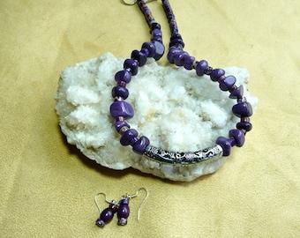 18 Inch Chunky Purple Jasper Necklace with Earrings