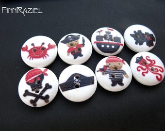 8 pirate buttons white wooden buttons 18mm Pirate Set children clothing