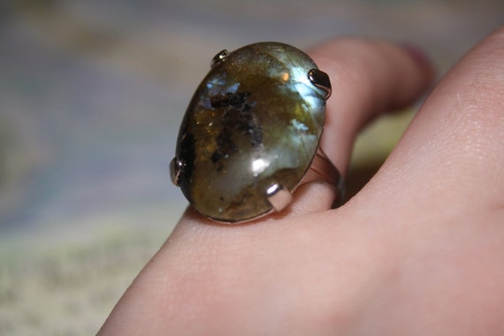 Brown and Blue Boulder Opal Sterling Silver Ring Size 7