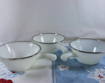 Set of 3 Anchor Hocking Fire King Milk Glass Silver Rim Handled French Casserole Bowls