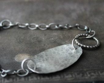 Hammered Oval Bracelet, Rustic Silver Bracelet, Silver Link Bracelet, Hammered Silver, Silver Chain Bracelet, for her, ID style bracelet