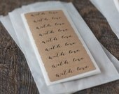 """With Love Brown Labels. 1.75"""" x 0.5"""" Kraft Stickers. Set of 36 or Set of 72."""