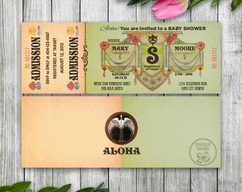 Luau Baby Shower Invitation Ticket, Printable Ticket Invitation, Luau Baby Shower Invitation, Luau Theme