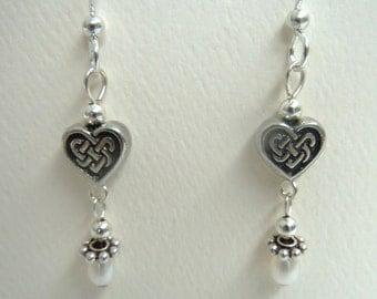 Celtic Heart and Freshwater Pearl Dangle Pierced Earrings