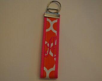 Geometric Monogrammed KeyFob Keychain Wristlet - Hot Pink webbing/Orange and white geometric fabric