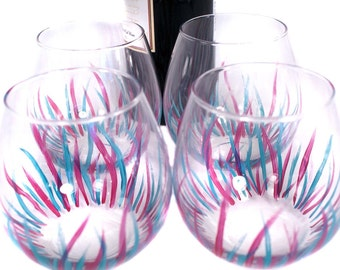 Handpainted Stemless Wine Glasses,  Hand Painted Wine Glasses, Wine Glass Set, Painted Glassware, Hand Painted Glasses, Wine Glass Gift Set