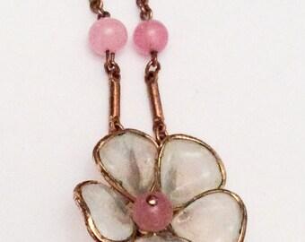 Poured Glass Pendant Necklace, Pink, Flower, Art Deco, Trifari 1940s Vintage Jewelry, SUMMER SALE