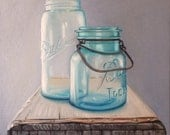 "Original Oil Painting Entitled, ""Ball jars, Crate"" ~ Still Life Realism Canvas 10"" Square Wall Art Painting, Rustic Still Life"