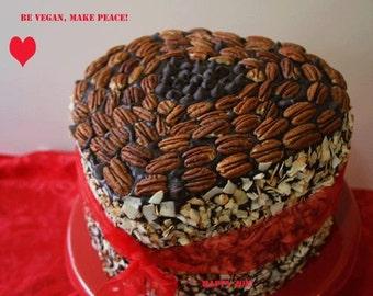 Vegan German Chocolate Chip Pecan Coconut Heart Cake, love, animal free cruelty,no eggs,no dairy.