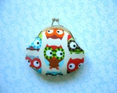 SHOP CLOSING SALE  Bright Owls Coin Purse - Handmade Gift - Birthday Gift - Holiday Gift - Stocking Stuffer - Gifts Under 20