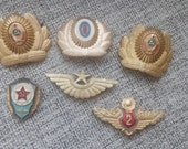 4 rare soviet Russian RED ARMY cockade cap badge insignia military sign with red star sickle and hammer + 2 badges