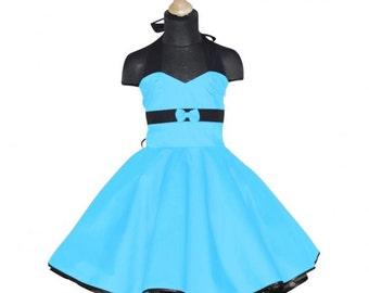 Girls 50's dress for petticoat custom made in uni turquoise black