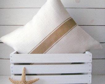 Burlap Pillow / Grain Sack Pillow Cover / Cottage Pillow / Beach Pillow / Rustic Decor / Farmhouse Pillow / Choose Burlap and Stripe Color
