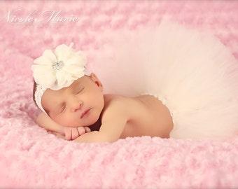 Ivory Couture Tutu and Matching Couture Flower Lace Headband (SET) - NEWBORN size - Beautiful Photo Prop or Keepsake Photo Prop