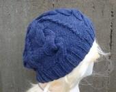 Blue Beret Hat, Cabled Hat, Hand Knit, Denim Blue, Teen Girls & Women