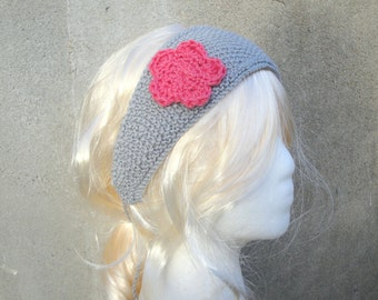 Tie Back Headband with Flower, Gray & Pink Rose Flower, Hand Knitted, Girls Tweens Teens Women