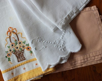 Vintage Linen Towels Napkins Mixed Lot Hand Embroidery White Yellow Salmon