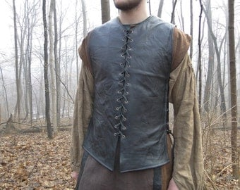 Custom Medieval Leather Tunic / Shirt, Lace up Front and Sides, Sleeveless, Choose Color & Size, MADE TO ORDER