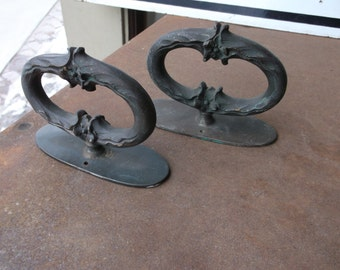 PAIR of Rare Antique Victorian Handles in Solid Brass - Lovely Patina - Architectural Element