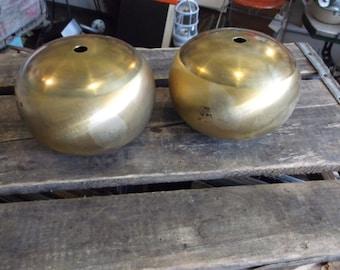 Pair of Spun Brass Squat Balls - Lampmaking - Vintage Lighting Design - Lamp Parts
