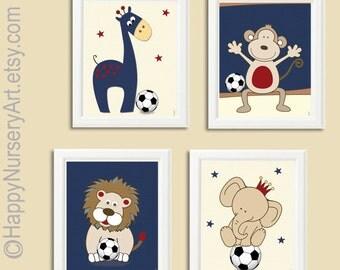 Nursery wall art, kids art prints, sports nursery art, art for nursery, soccer ball nursery art navy blue, giraffe, monkey,elephant wall art