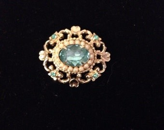 Vintage Gold Tone Brooch with Aqua Stones by Coro