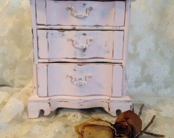 Vintage Wood Jewelry Box Shabby Chic Ballet Pink