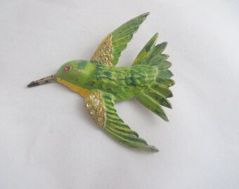 Vintage Green Yellow Bird Brooch Made in USA Rhinestone