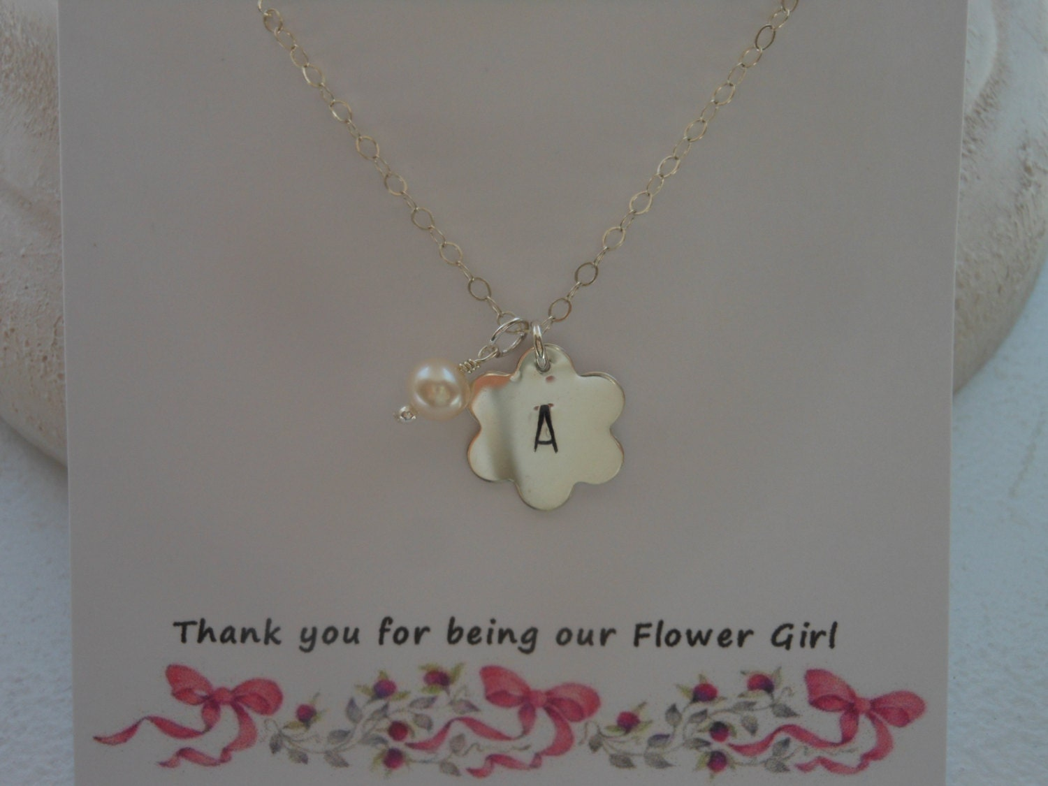 Flower Girl Gift Silver Flower Petal Necklace Personalized