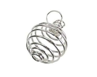 Silver Plated Coil - Jewelry making, Cage pendant, Wrapped stone, Coil pendant, Silver cage, Spiral cage, Jewelry supplies, Gemstone cage