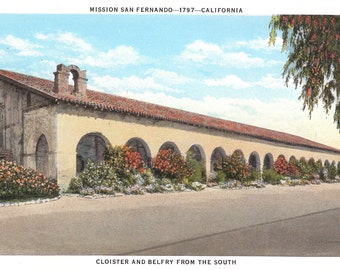VIntage Postcard....Mission San Fernando-1797- California, Cloister and Belfry from the South...Unused...no. 2304