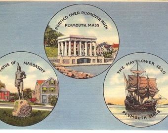 Vintage Linen Postcard....Plymouth, Mass Souvenier Card, Plymouth Rock, The Mayflower, Statue of Massasoit....Unused....no. 2438