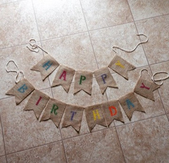 Items Similar To Happy Birthday Burlap Banner, Party