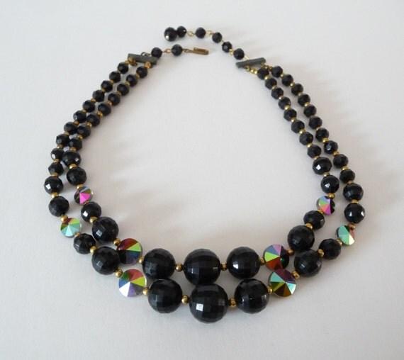 beaded black necklace ab rivoli two strands vintage