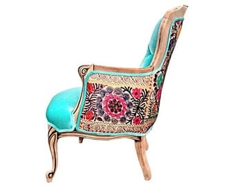 French Bergere Wing Back ChairTufted Buttons Accent Chair Aqua Blue Velvet Vintage Silk Suzani Embroidery Upholstery Colorful Eclectic Style