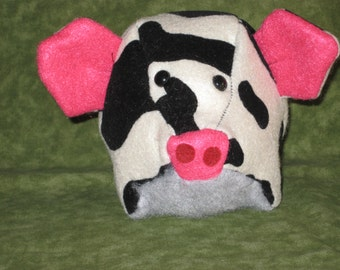Black and White Pig, plushie, softie, Stuffed animal,  W/ Pink Nose, Fuzzy Gray Tummy, Piggy / Piglet Pillow, Bowl Orniment, Poufs