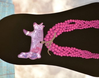 Pink, White and Purple Marbled Show Pig Necklace