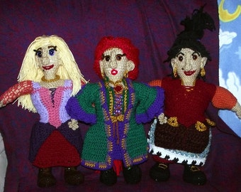 The Three Sanderson Sisters, large handmade crochet witch dolls