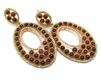 Gold Plated 925 Sterling Silver Bezel Earring pair setted Garnet Gemstone Cabochons and Cubic Zircona , Ear Jewelry Beautiful Gift for her