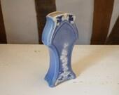 Porcelain Bud Vase Art Nouveau Floral Pattern Blue and White