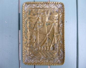 French Art Deco Bronze Dish Signed Max Le Verrier nef de Jacques Coeur 1440