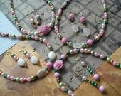 MELODIA 2 Piece Jewelry Sets Necklaces Earrings Pink White Green Flowers Girls Children Party Favors