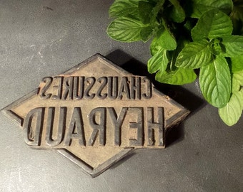 French advertising wood block stamp dating back to the early 1900's .Shop Display .Shoes .