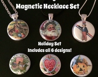 Interchangeable Magnetic Holiday Necklace, Bracelet or Pin Set