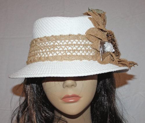 Gambler Straw Hat: White Straw Gambler Style Sun Hat With Burlap Sunflower