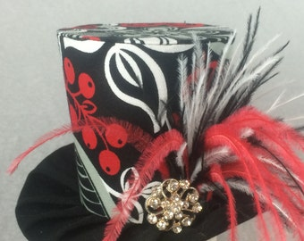 Black White and Red Mini Top Hat