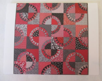 Set of 10 Red & Black Licorice quilt note card (folded)