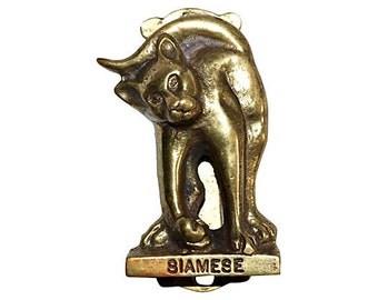 Siamese Cat Door Knocker Vintage Brass --  Playful and Sweet