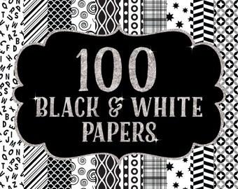 Sale 100 Digital Paper Bundle, Black and White, Digital Papers, Chevron Papers, Scrapbook Papers, Digital Paper Pack, Quatrefoil Papers